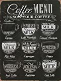 Coffee Menu Latte Espresso Milk Foam Tin Metal Aluminum Wall Sign Plate 12X8 inches Rustic Vintage Wall Decor Signs Bar Pub Art