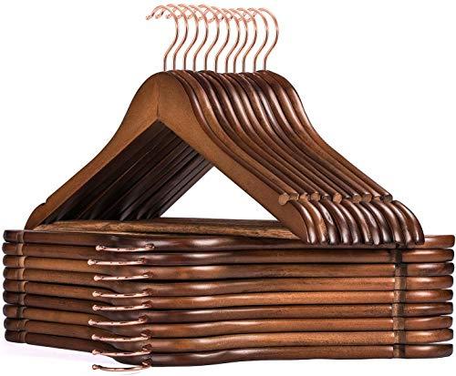 HOUSE DAY Cintres en Bois Paquet de 32 cintres en Bois Crochet en Or Rose Crochet Robuste pour vêtements Cintres en Bois de Finition Lisse de qualité supérieure pour Costume de vêtements Noyer