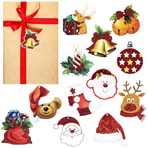 72 Count Christmas Tags for Gift with String, Assorted 12 Styles Merry Christmas Tree Ornaments Decor Holiday Wrapping Package