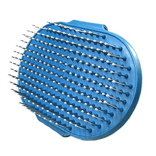 CINFAR Pet Shampoo Hand Strap Brush/Comb for Bathing, Massaging, Loose Hair and Dirt for Cats Dogs (Blue)