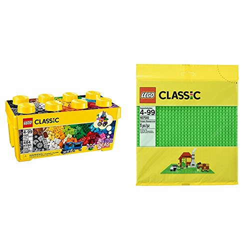 LEGO Classic Medium Creative Brick Box 10696 with LEGO Classic Green Baseplate Supplement Bundle