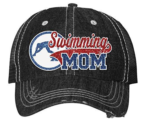 Swimming Mom Cap Sparkling Bling Outlet SALE Bargain sale Womens Rhinestone Sport Custom