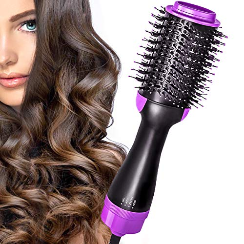 FUNFLOWERS Hot Air Brush Hair Dryer Brush Styler One Step Salon Volumizer Brush 4 in 1 Straightener Curl Air Hair Brush with Comb Ceramic Negative Ion Electric Styling Blow Dryer Brush Purple