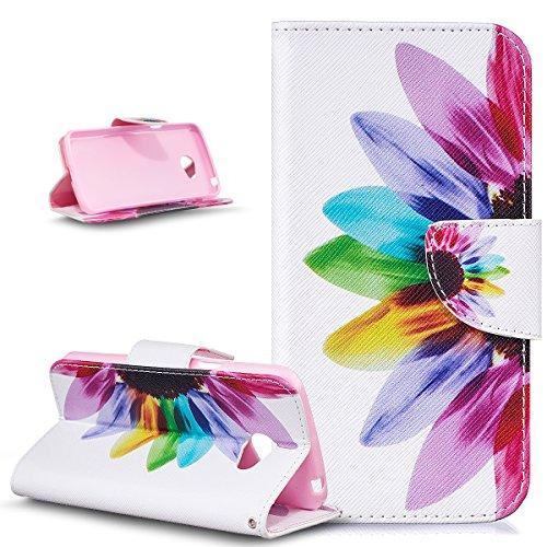 Custodia LG K5,Cover LG K5,ikasus Farfalla fiore verniciato colorato Modello Flip Cover Portafoglio PU Pelle Protective Wallet Stand Custodia Cover per LG K5 Custodia,Girasole