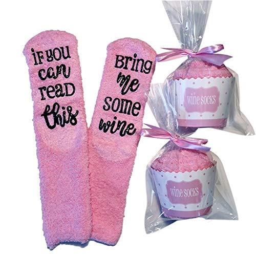 Wein Socken/Kaffee Socken, If You Can Read This Bring Me Some Wine - Lustige Cupcake Socken Geschenk für Frauen - Für Weinliebhaber, Geburtstags-Geschenk für Frauen, Wein Zubehör