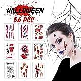 Halloween Temporäre Tattoos (36 Blatt) - AGPTEK Gruselige Zombie Sticker mit Scar, Blut, Kratzer, Narben Aufkleber für Halloween Kostüm Makeup