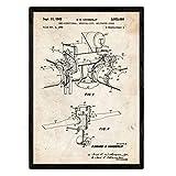 Nacnic Poster con patente de Dron helicoptero 2. Lámina con diseño de patente antigua en tamaño A3 y con fondo vintage