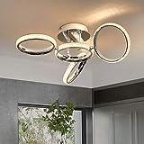 ZMH LED Lampada da soffitto Moderna Plafoniera 4 Anelli Rotanti Design Creativo in alluminio, cristallo e ferro color cromo 39W Interno 3000K bianco caldo per camera da letto soggiorno ufficio