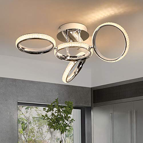 ZMH LED Deckenleuchte Modern Deckenlampe 4 Drehbaren Ringe Design Kreative aus Aluminium, Kristall und Eisen in Farbe Chrom 39W Innen 3000K Warmweiß für Schlafzimmer Büro Wohnzimmer