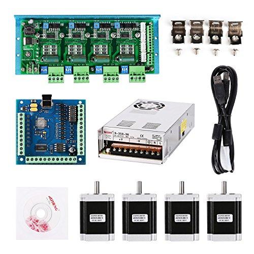 SainSmart CNC TB6600 4 Achsen 4,5 A Stepper Motor Driver Board, MACH3 USB 4 Achsen 100 KHz Smooth Stepper Motion Controller Board USB+TB6600-T4+M76X4