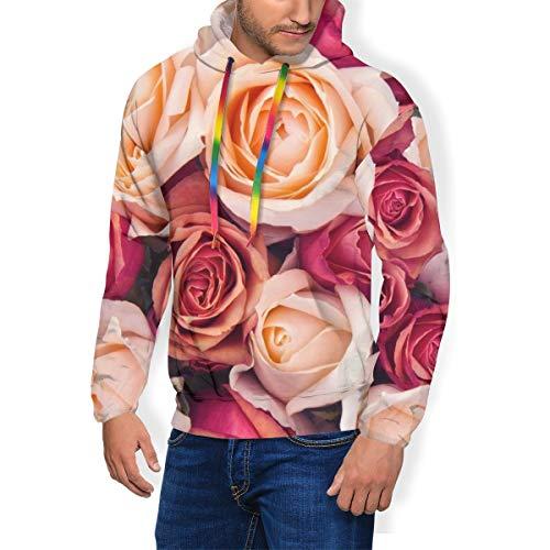 JOJOshop Kapuzenpullover für Herren mit rosa und pfirsichfarbenen Rosen Gr. XX-Large, Schwarz