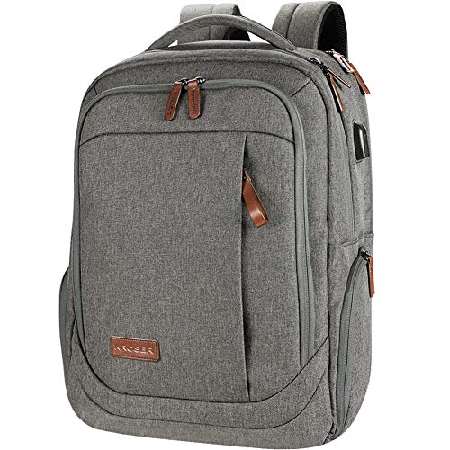 KROSER School Laptop Backpack Large Travel Computer Backpack for 17.3 Inch Laptop with USB Charging Port Water-Repellent Casual Daypack for Business/College/Women/Men-Grey