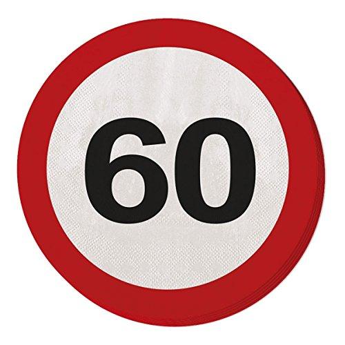 Folat 20 Serviettes 60. Anniversaire avec Conception de panneau de signalisation Set Serviettes de table anniversaire Soixante Ans