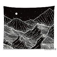 スカルスターズムーンムーンマウンテン黒と白のベッドサイドソファシーン背景布の装飾さまざまなタペストリー 625 (Color : A, Size : 50x40cm)