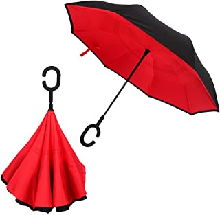 Redlemon Paraguas Invertido de Doble Cubierta, Resistente al Viento, Ligero, Mango Ergonómico en Forma de C, Portátil y de Secado Rápido, Ideal para Lluvia y Días Soleados. Rojo