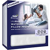 UltraBlock Standard Size Waterproof Pillow Protector - Hypoallergenic and Bed Bug Proof Zippered Terry Cotton Pillow Cover - 2 Pack