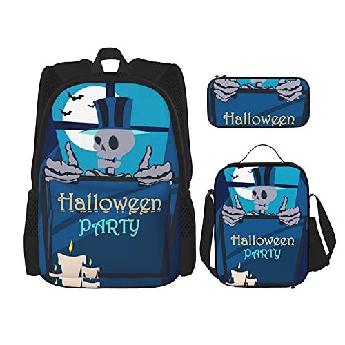 Terug naar school benodigdheden Halloween Enge Horror Skull Studenten 3 In 1 School Rugzak Set Lichtgewicht Rugzak/Lunch…