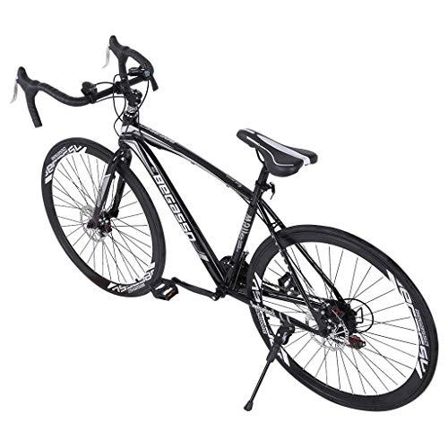 Generic Aluminum Road Bike, 21 Speed Disc Brakes Aluminum Frame Road Bicycles Begasso Shimanos Full Suspension Road Bike, 700c Dual Disk Brake Quick Release Racing Bicycles (BlackWhite),Small
