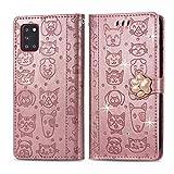 Oihxse Funda para Samsung Galaxy S8+ Plus Carcasa Protectora Libro con Tapa Flip Case Ranuras Cartera con Tarjetas Soporte Plegable Gatos y Perros Patrón Moda Mujers Cuero Billetera Cover,Oro Rosa