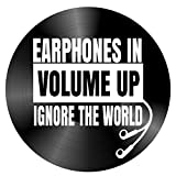 Earphones in Volume Up Quote on a Vintage Vinyl Record Album Home Decor Gift for Music Lover