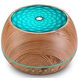 1000ml Diffusore di Oli Essenziali per Aromaterapia, Umidificatore a Aromi a Grana di Legno con Luci LED Colorate, Fino a 22 Ore di Utilizzo, Impostazione del Timer, Silenzioso, Senza BPA,Marrone