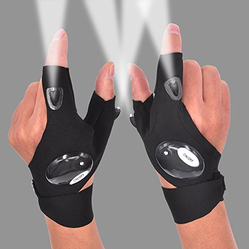 LED Flashlight Glove Gifts for Men Father Day Outdoor Fishing Gloves Dad Men Gifts with Stretchy Strap Screwdriver for Repairing Cars Night Running Fishing Camping Hiking in Dark Place (1 Pair)