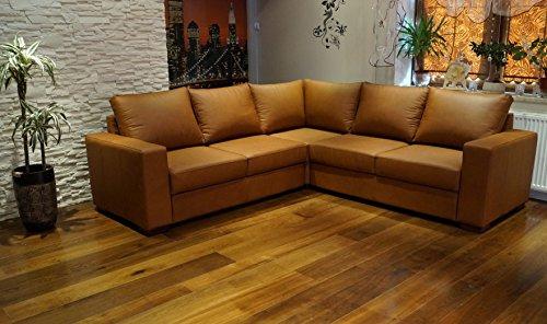 Quattro Meble Echtleder Ecksofa Mallorca RE 245 x 245cm Sofa Couch mit Bettfunktion und Bettkasten Eck Couch Echt Leder Venice Cognac