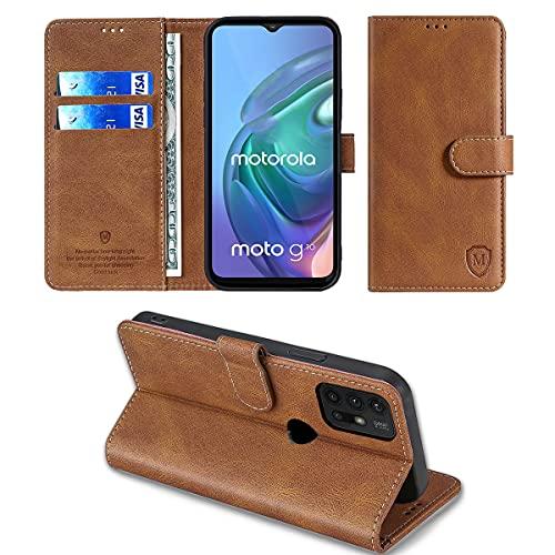 xinyunew Wallet Serie Handyhülle für Motorola Moto G30 / Moto G10 Hülle Leder Flip Hülle Cover Schutzhülle für Motorola Moto G30 / Moto G10 Tasche, Braun
