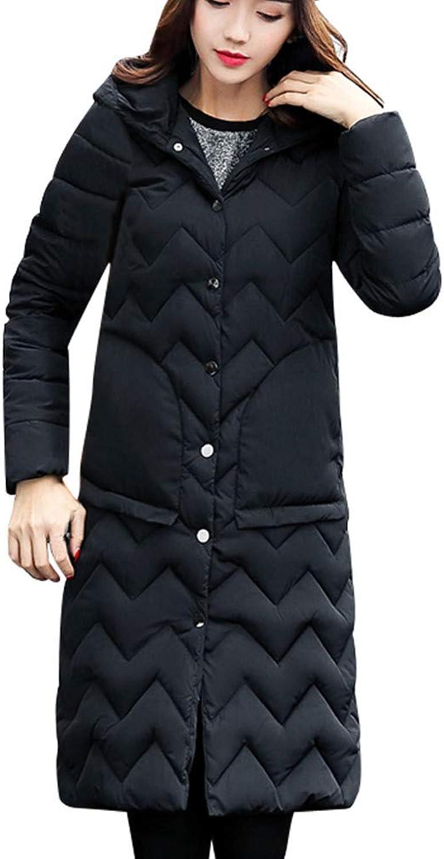 Kangma Women Winter Coat Collar Long Jackets Warm Thicken Padded Hooded Coat