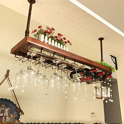 F2 massief houten bar wijnrek hangende wijnrek decoratie kristal gordijn plank wijnflessenhouder wijnglashouder op het hoofd huis hangen wijnrek L19.12.14 (grootte: 80 cm) 100 cm