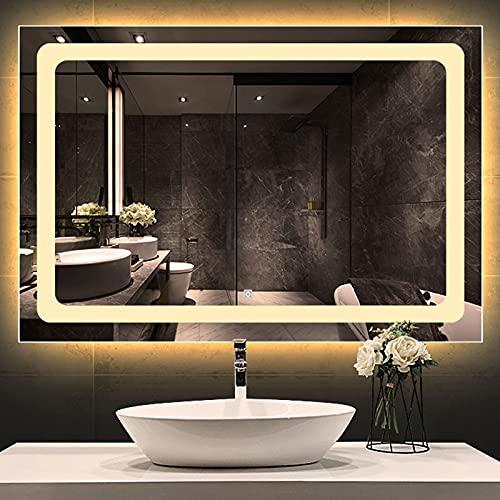 Espejos de Baño con Luz Led Y Bluetooth, Espejos Decorativos de Pared Grandes Maquillaje Espejos, Bluetooth+Antivaho