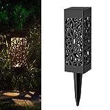 Garten-Skulptur für den Außenbereich, 6 LED-Solar-Lampen, Laterne, Weg-Lichter, Rasen-Lampe, für Gartendekorationen, Terrasse Warm Light~6 * 18cm
