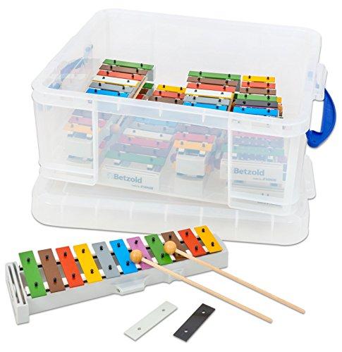 Betzold Musik 8 Glockenspiele, Xylophon, farbige Klangplatten, inkl. 8 Paar Schlägel, in stabiler Aufbewahrungsbox - Instrumente-Set Musik Lehrmittel