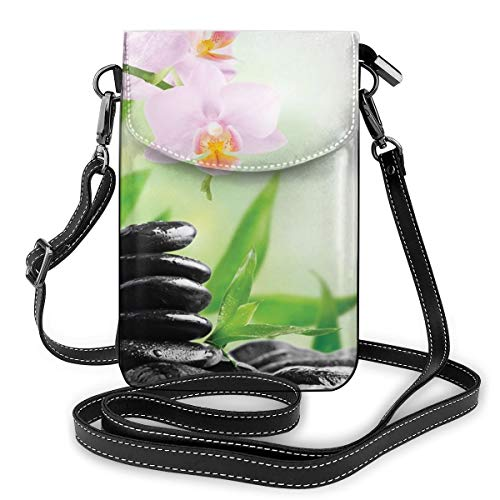 Jiger Women Small Cell Phone Purse Crossbody,Zen Basalt Stones And Orchid With Dew Peaceful Nature Theraphy Massage Meditation