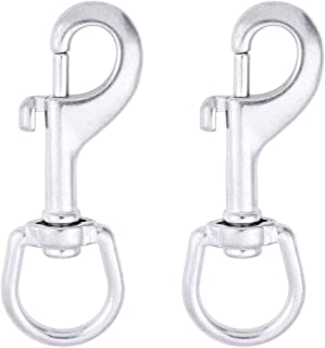 AOWISH 2-Pack 316 Stainless Steel Swivel Eye Trigger Bolt Snap Hook 4-3/16`` Single Ended Flagpole Snap Clips for Scuba Diving/Dog Leash/Camera Strap/Key Chain/Tarp Covers/Clothesline & More(Silver)