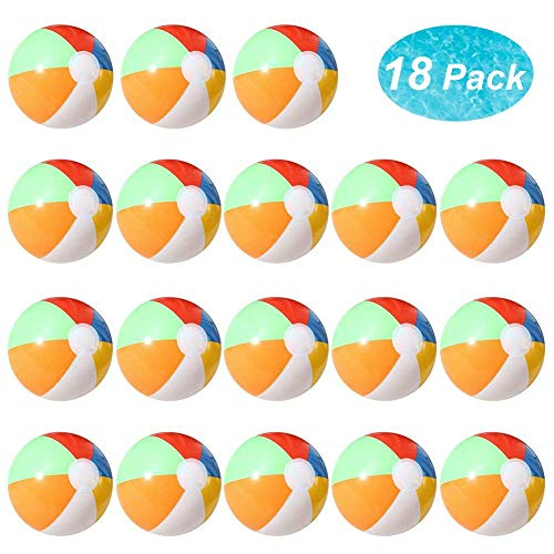 Lumiparty Inflatable Beach Balls(18PACK) 7.5' Rainbow Colored Beach Balls Beach Balls Pool Party Toys Colorful Beach Balls Party Favors Perfect for Summer Parties Beach Sand & Water Or Swimming Pool