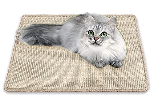 Alfombrilla Rascador para gatos, resistente de sisal natural para gatos, alfombrilla horizontal para rascar el piso, protege las alfombras y sofás de color blanco, 40 cm y 60 cm