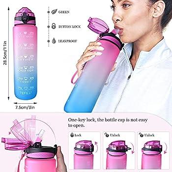 Gourde Sport 1 Litre, Bouteille d'eau Avec Paille, sans BPA, avec ?Traqueur de Marqueur, Ouvrir en un Clic, Convient Pour la Gym, le Yoga, le Camping, le Cyclisme et la Vie de Famille(Rose Bleu)