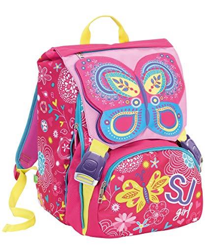Zaino scuola sdoppiabile SJ GANG GIRL - Rosa - FLIP SYSTEM - 28 LT elementari e medie 3 pattine sfogliabili - Cuore Pop Up