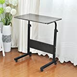 sogesfurniture Adjustable Height Laptop Table with Casters, Mobile Computer Stand Desk Portable Side...