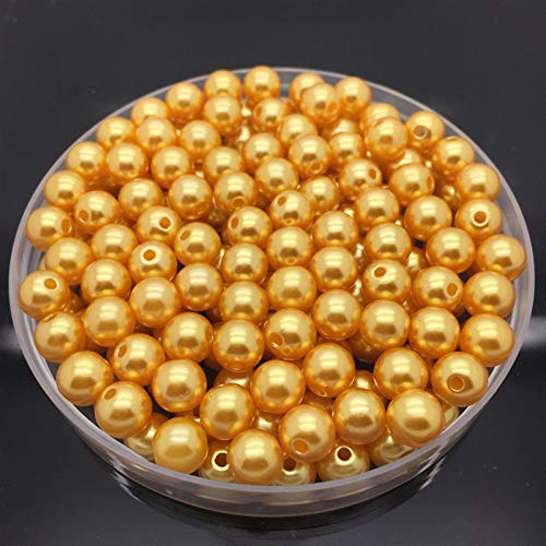 Xuping shop 4 6 8 10mm Imitation Pearls Acrylic Round Pearl Spacer Loose Beads DIY Jewelry Making Necklace Bracelet Earrings Accessories (Color : Gold, Item Diameter : 10mm 30pcs)