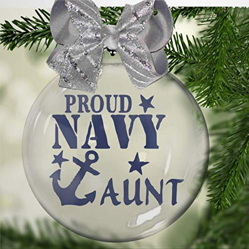 DONL9BAUER Proud Navy Aunt Acrylic Christmas Ball Ornament,family ship patriot hero armed services seaman Christmas Bauble Tree Ornament with presents for Church Members,Holiday,Family & Friends.
