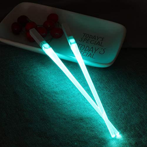 YARNOW Varillas de luz LED para comer con forma de espada de luz, portátiles, extraíbles, duraderas, ligeras, aptas para alimentos, para fiestas de cenas (verde azulado)
