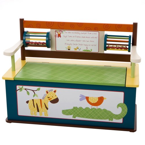 Wildkin Bench Seat with Storage, Jungle Jingle