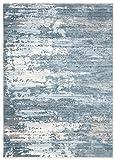 Jupiter - Alfombra moderna de calidad degradada y brillante para salón, dormitorio, salón, efecto carving azul, blanco, beige y pardo (3092 Dark Blue, 200 x 300 cm)