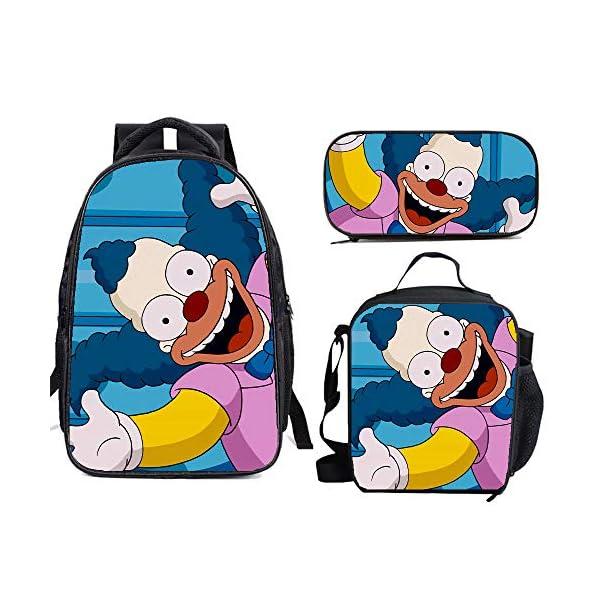 51vn2o SSrL. SS600  - The Si-mps-ons - Juego de mochila escolar con bolsas de almuerzo y estuche ligero para viaje para niños y niñas
