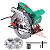 """HYCHIKA Circular Saw 12.5A, 6 Variable Speeds, 2200-4700RPM, 2Pcs Blades(24T+ 40T): 7-1/2', Max Cutting Depth 2-1/2""""(90°), 1-4/5""""(45°), Laser Guide, Pure Copper Wire Motor, 10Ft Power Cord"""