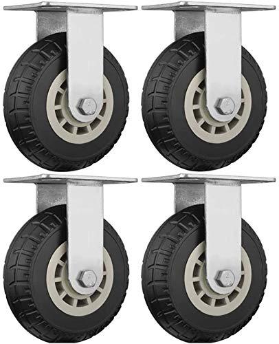 LICCC Möbelrollen 4 Stück Schwere elastische Kraft Bürostuhl Drehstuhl Castor Räder, Tieflader-LKW Trolley Industrie Directional Rad, ersetzen Zubehör Bremsmöbelrollen Alloy (Color : A, Size : 6in)