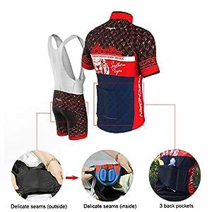 COMEIN Maillot Ciclismo Corto De Verano para Hombre, Ropa Culote Conjunto Traje Culotte Deportivo con 9D Almohadilla De Gel para Bicicleta MTB Ciclista Bici (Rojo Azul, M)