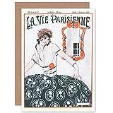 Artery8 La Vie Parisienne Stylish Woman French Magazine Cover Sealed Greeting Card Plus Envelope Blank Inside París Mujer francés Portada de la Revista Cubrir